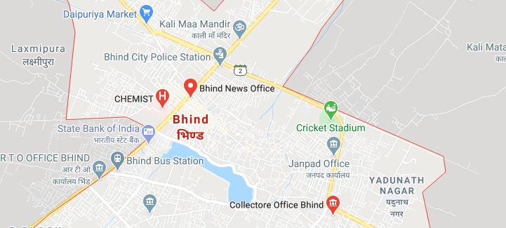 Bhind Jila भिंड जिला का नक्शा