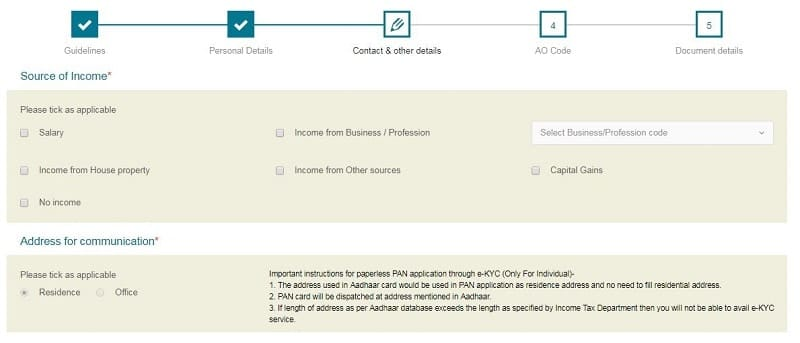 pan card application source of income